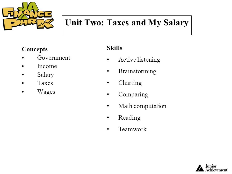 Unit Two: Taxes and My Salary