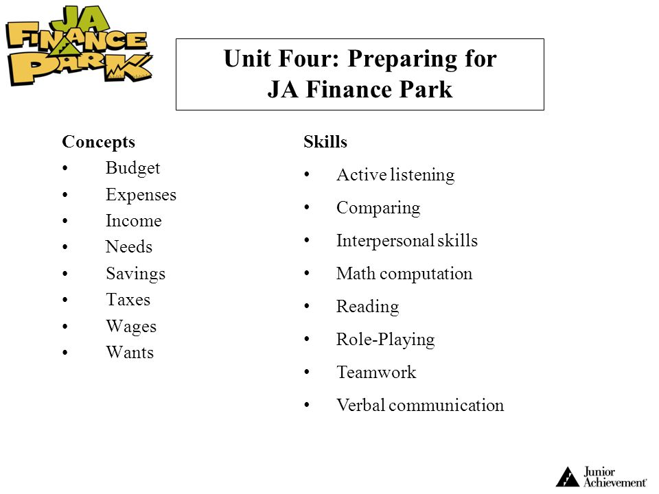 Unit Four: Preparing for JA Finance Park