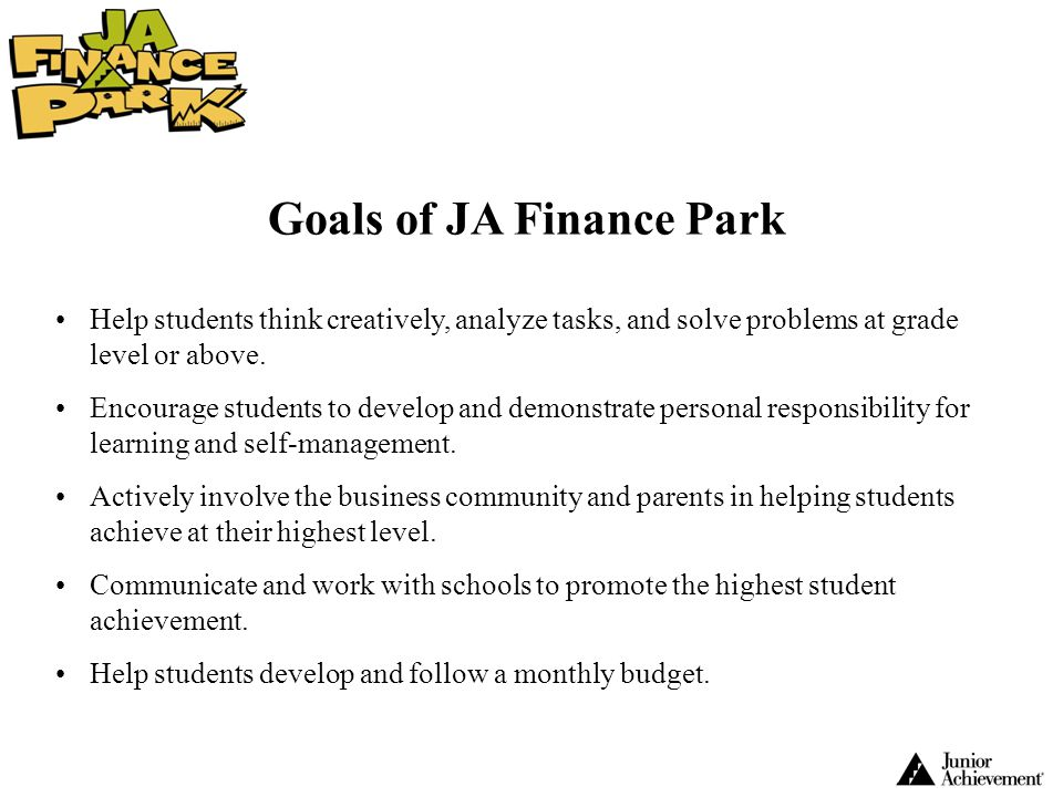 Goals of JA Finance Park