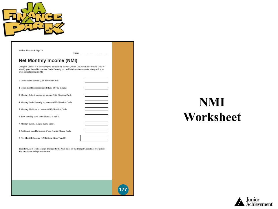NMI Worksheet Early in this Unit 4 project, groups will need to complete an NMI worksheet using the information found on their Life Situation Card.
