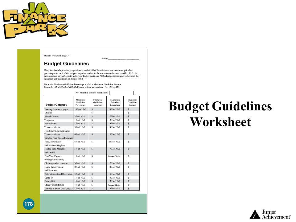 Budget Guidelines Worksheet