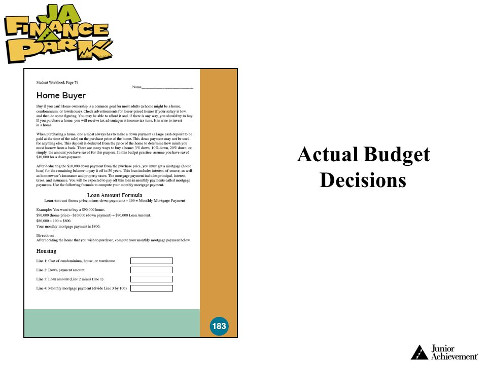 Actual Budget Decisions