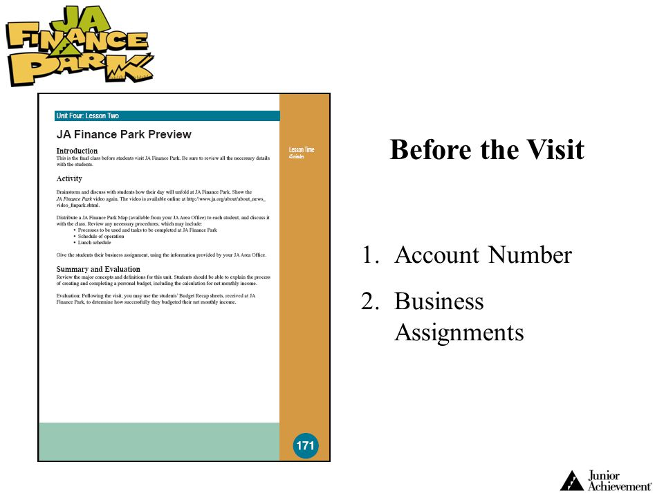 Before the Visit Account Number Business Assignments