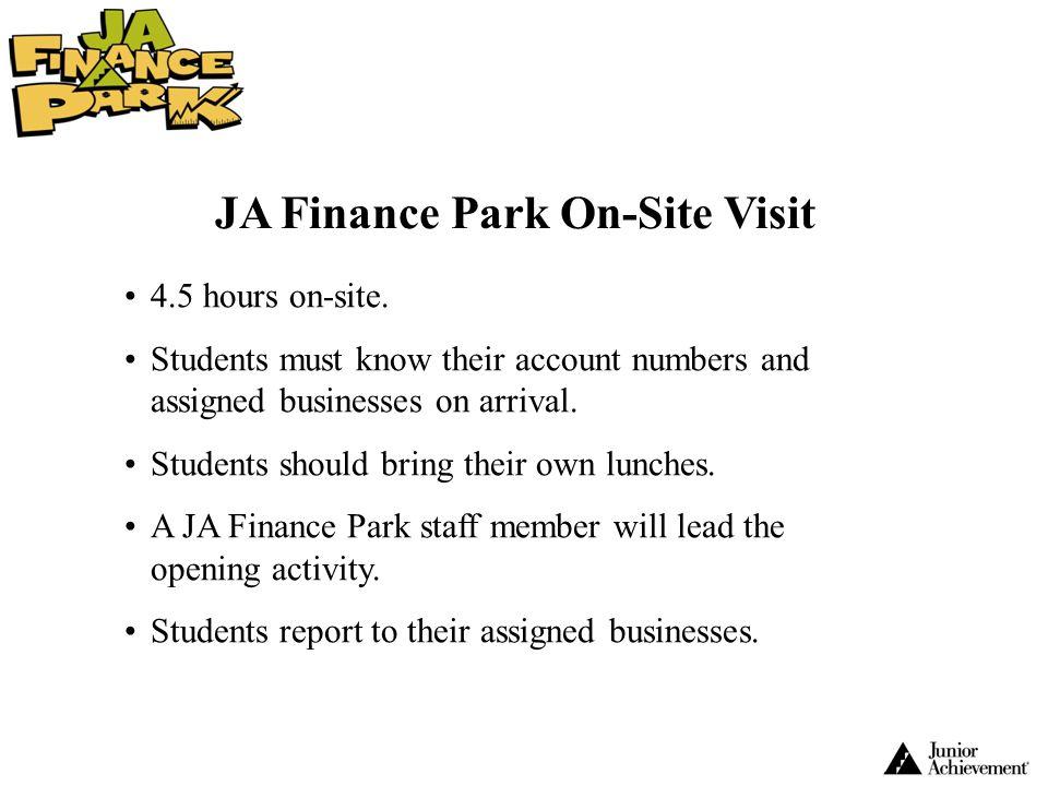 JA Finance Park On-Site Visit