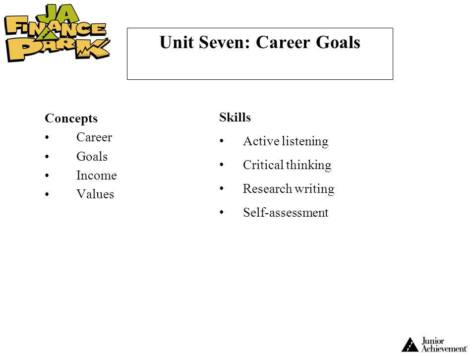Unit Seven: Career Goals