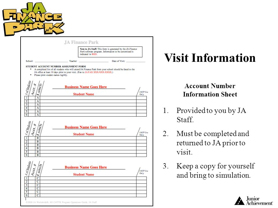 Account Number Information Sheet