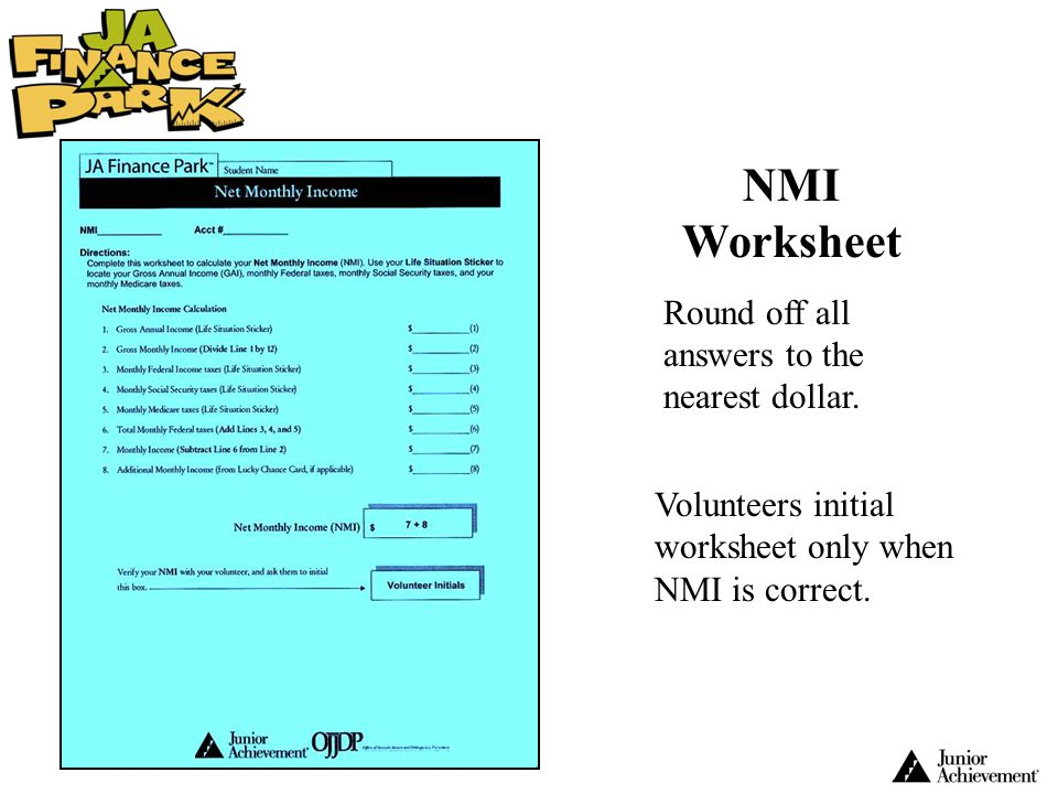 NMI Worksheet Round off all answers to the nearest dollar.