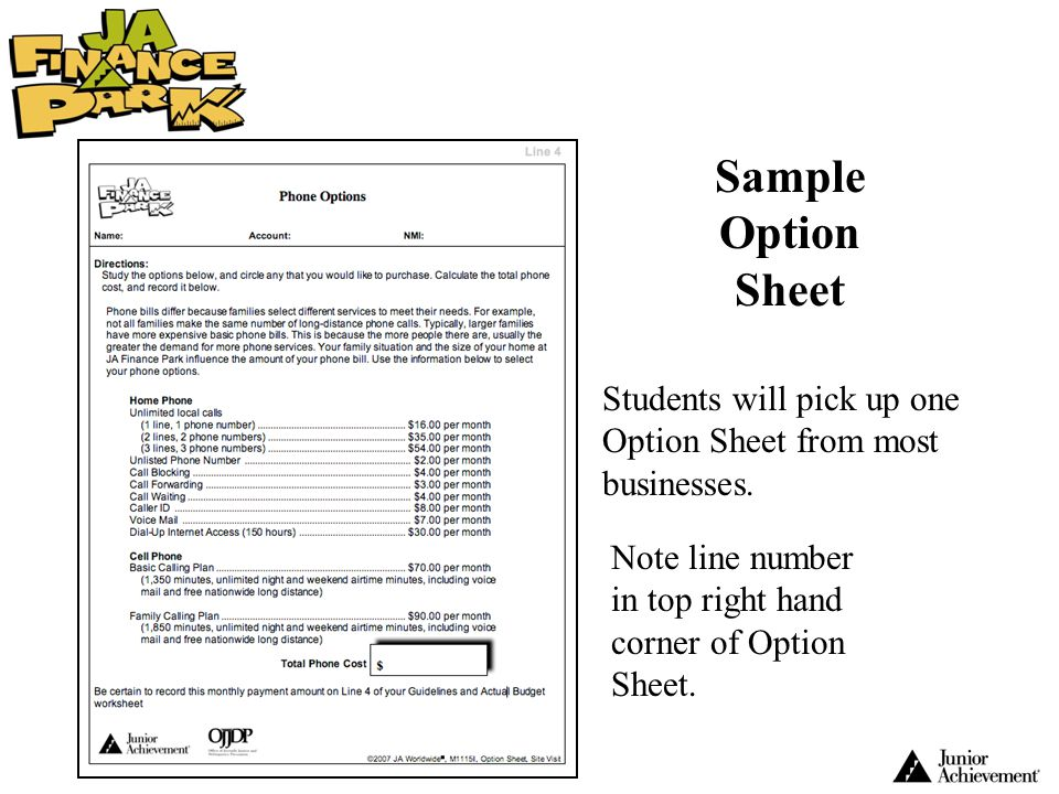 Sample Option Sheet Students will pick up one Option Sheet from most businesses.