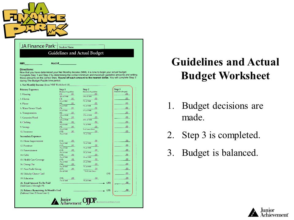 Guidelines and Actual Budget Worksheet