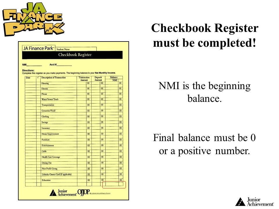 Checkbook Register must be completed!