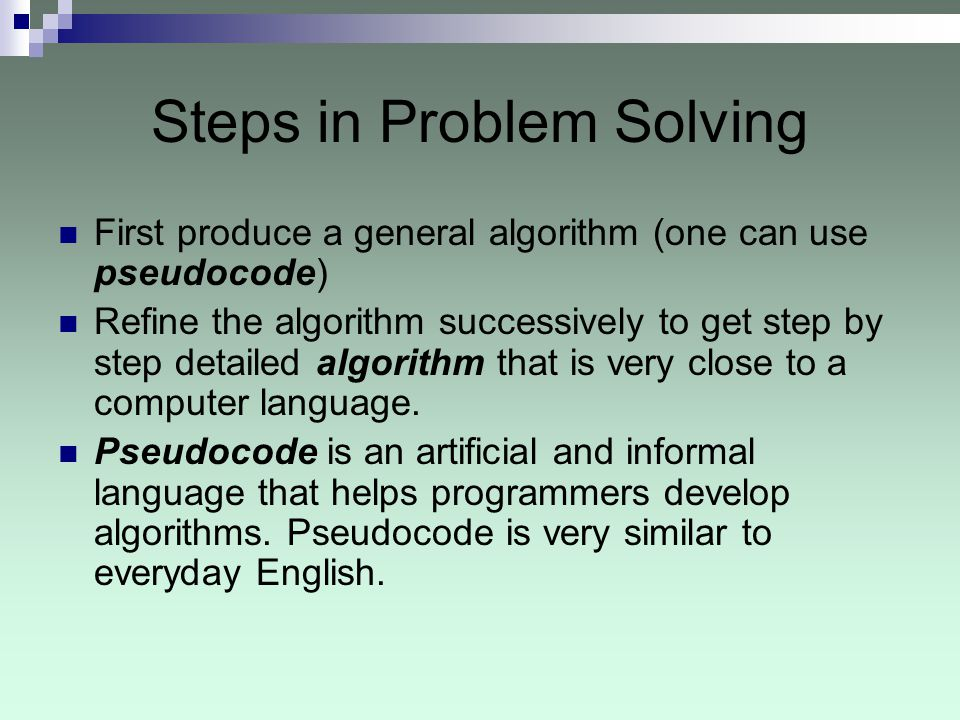 Steps in Problem Solving