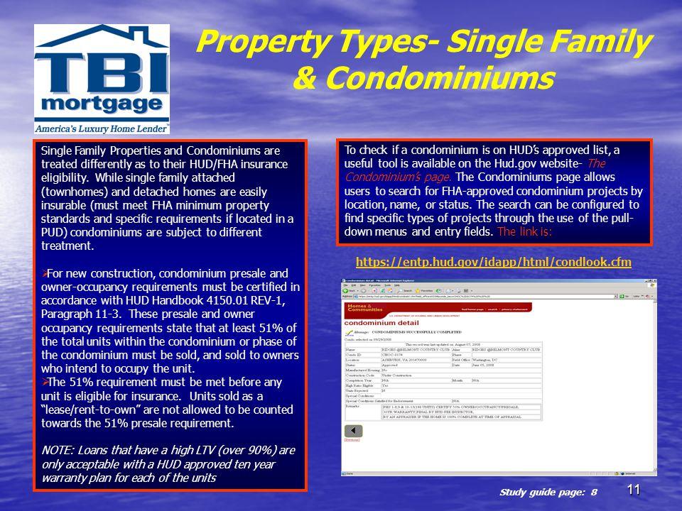 Property Types- Single Family & Condominiums