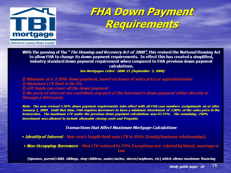 FHA Down Payment Requirements