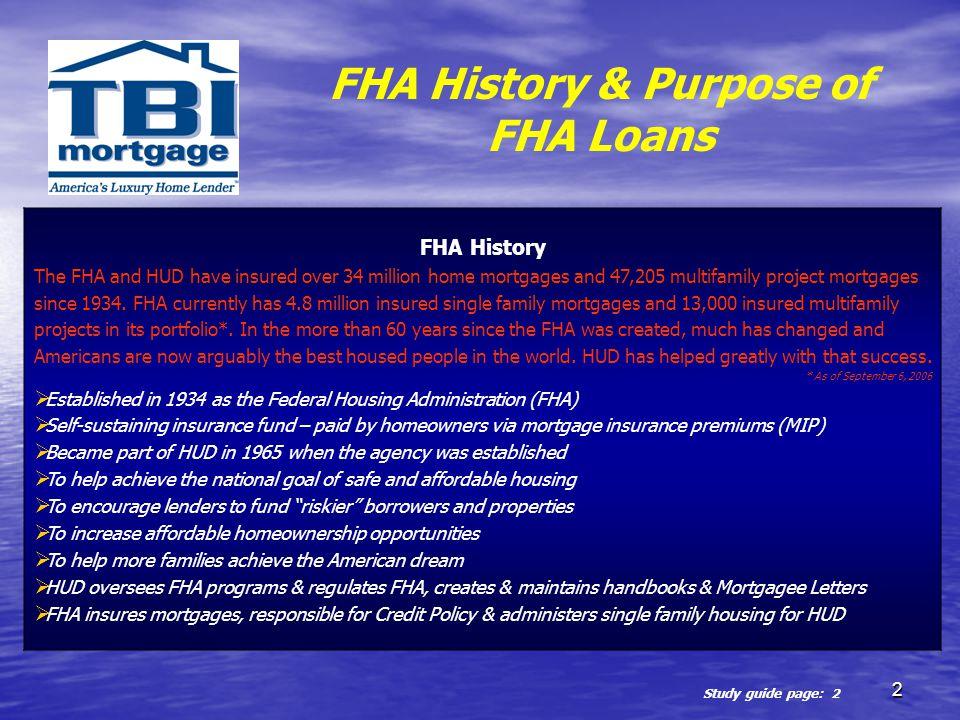 FHA History & Purpose of FHA Loans
