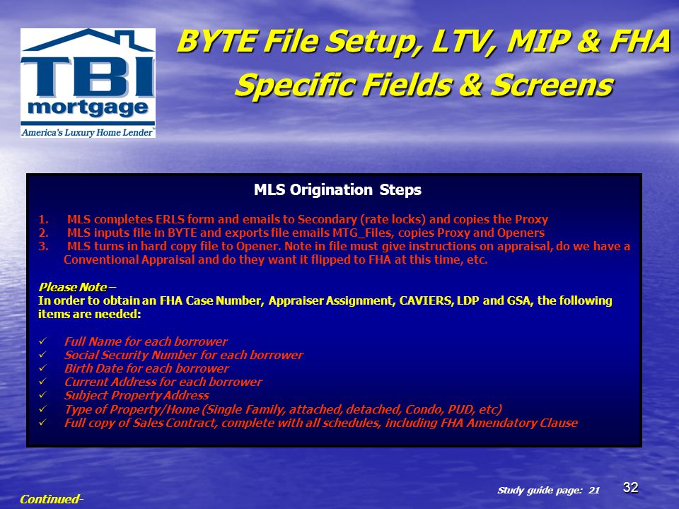 BYTE File Setup, LTV, MIP & FHA Specific Fields & Screens
