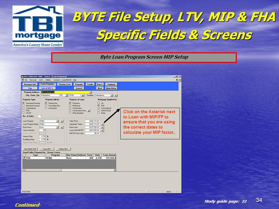 Byte Loan Program Screen MIP Setup