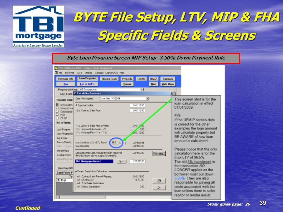 Byte Loan Program Screen MIP Setup- 3.50% Down Payment Rule