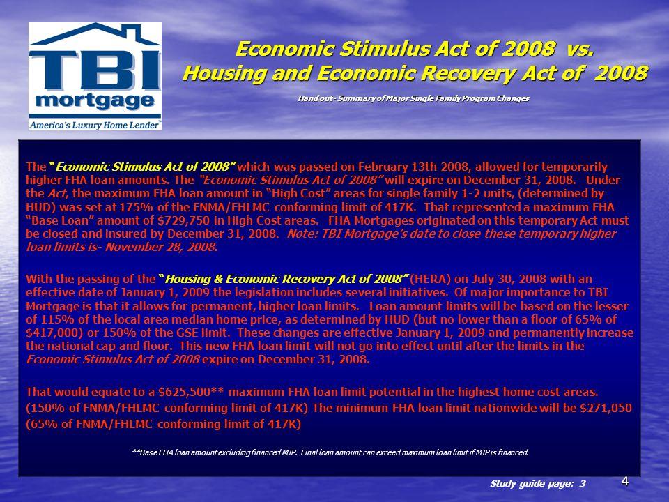 Economic Stimulus Act of 2008 vs
