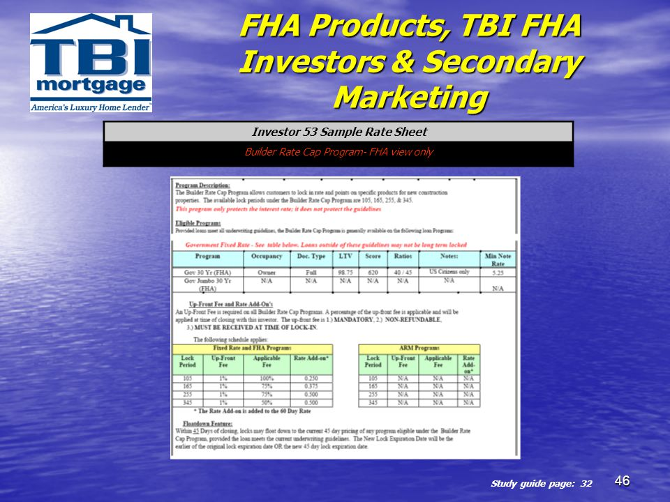 FHA Products, TBI FHA Investors & Secondary Marketing