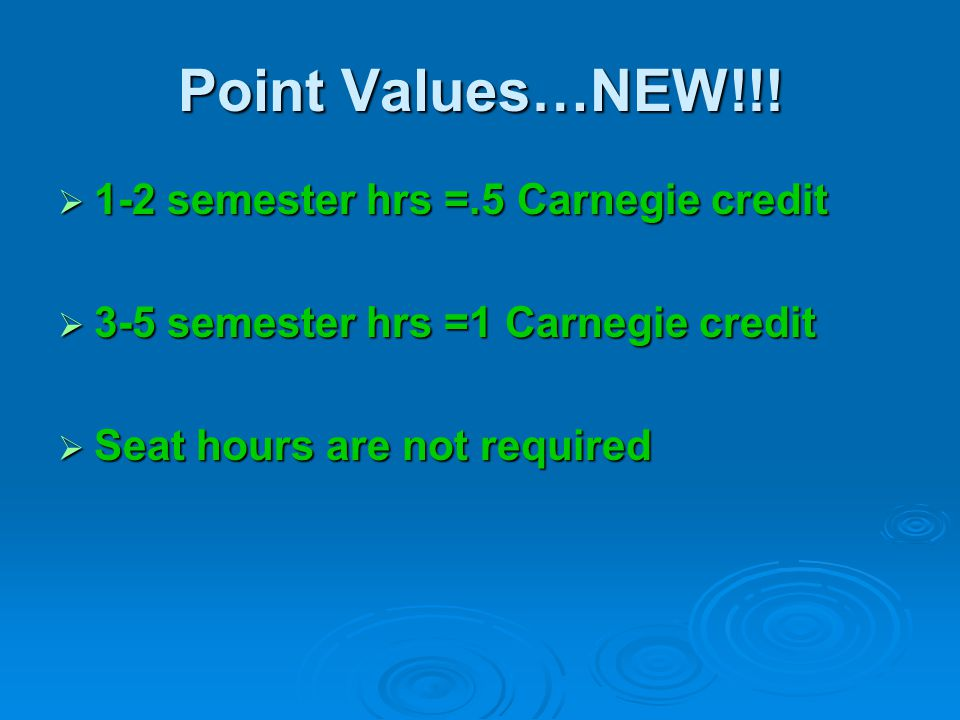 Point Values…NEW!!! 1-2 semester hrs =.5 Carnegie credit