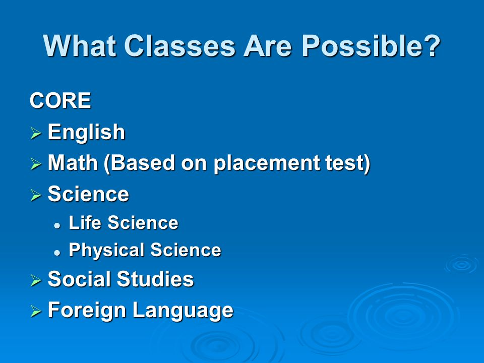 What Classes Are Possible