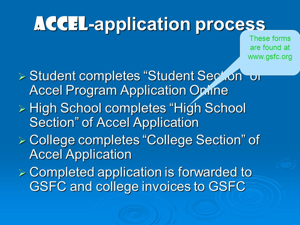 ACCEL-application process