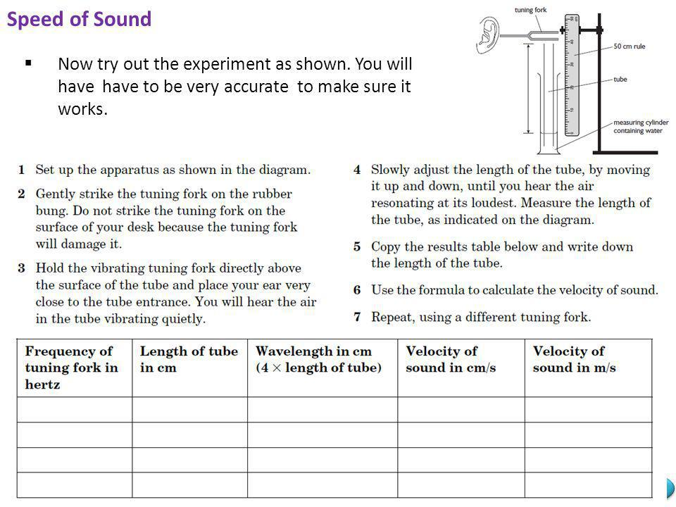 Speed of Sound Now try out the experiment as shown.