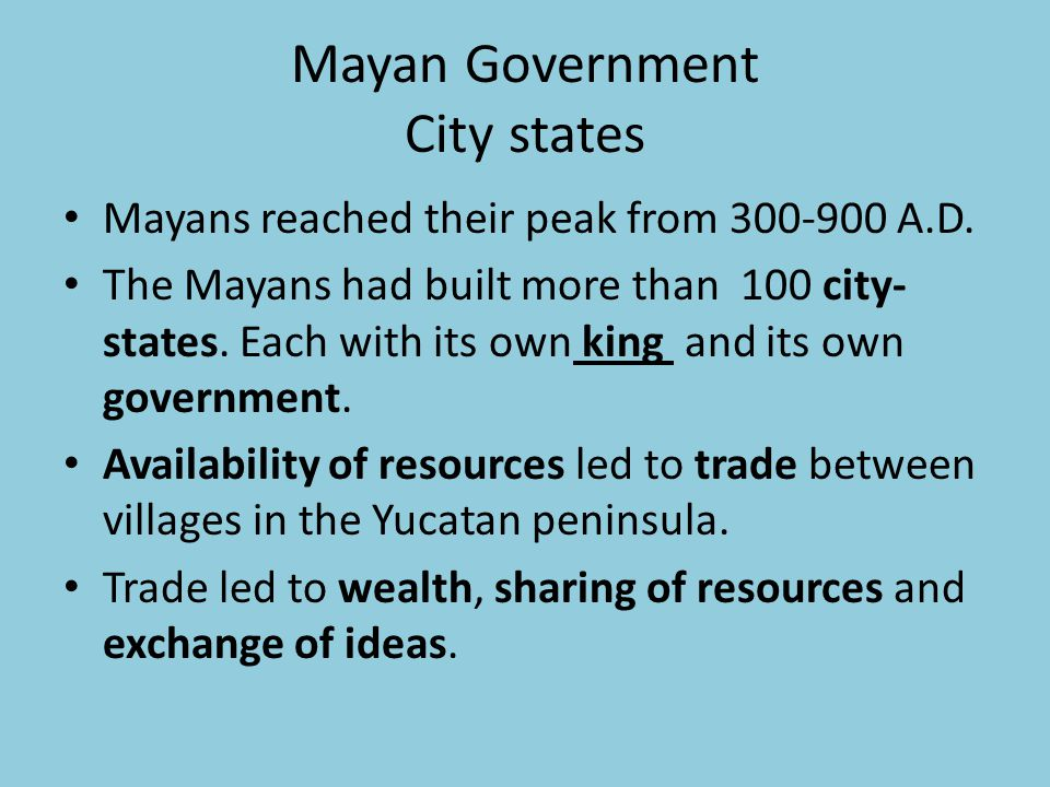 Mayan Government City states