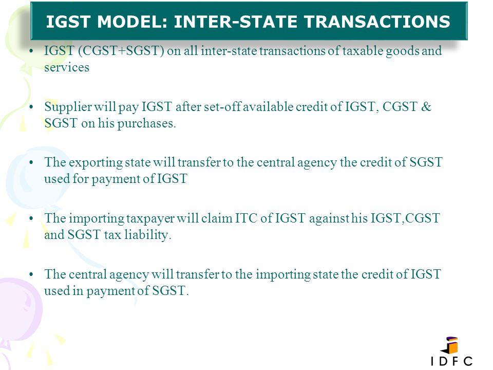 IGST MODEL: INTER-STATE TRANSACTIONS