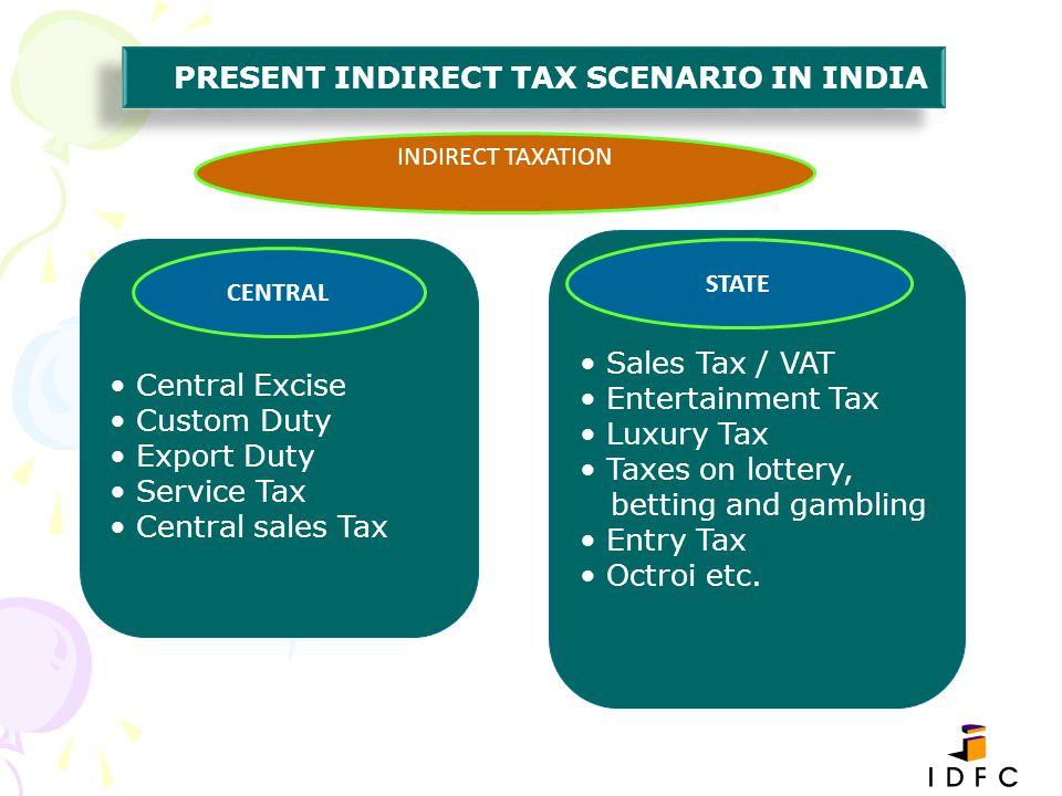 PRESENT INDIRECT TAX SCENARIO IN INDIA