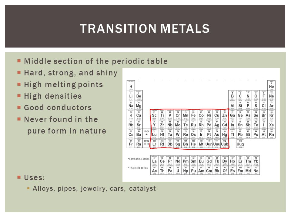 Transition Metals Middle section of the periodic table