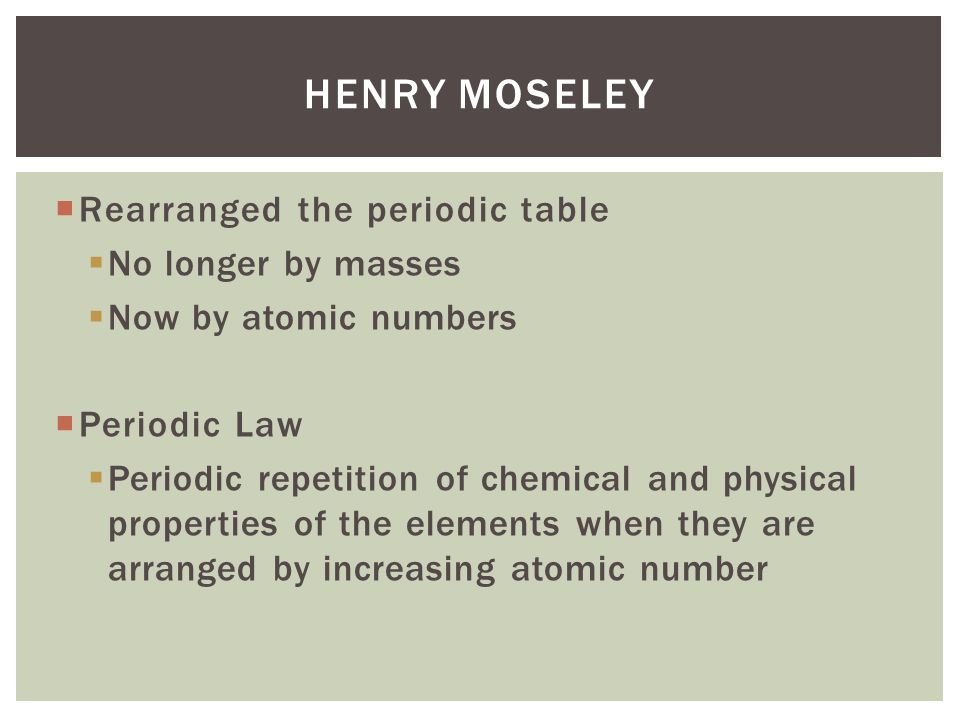 Development of the periodic table ppt video online download henry moseley rearranged the periodic table no longer by masses urtaz Gallery