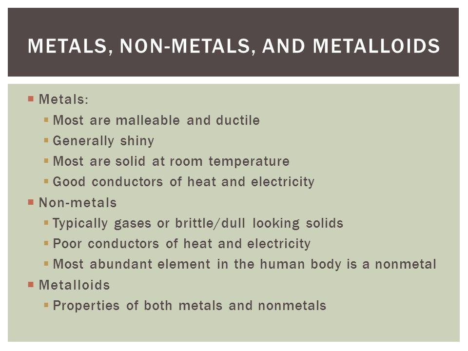 Metals, Non-Metals, and metalloids