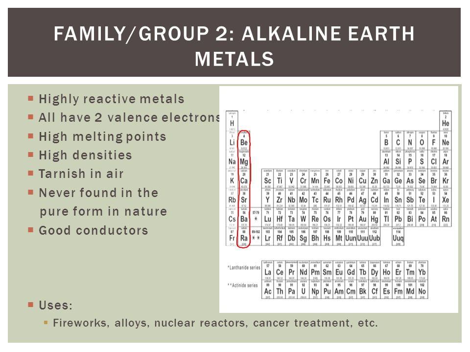 Family/Group 2: Alkaline Earth Metals