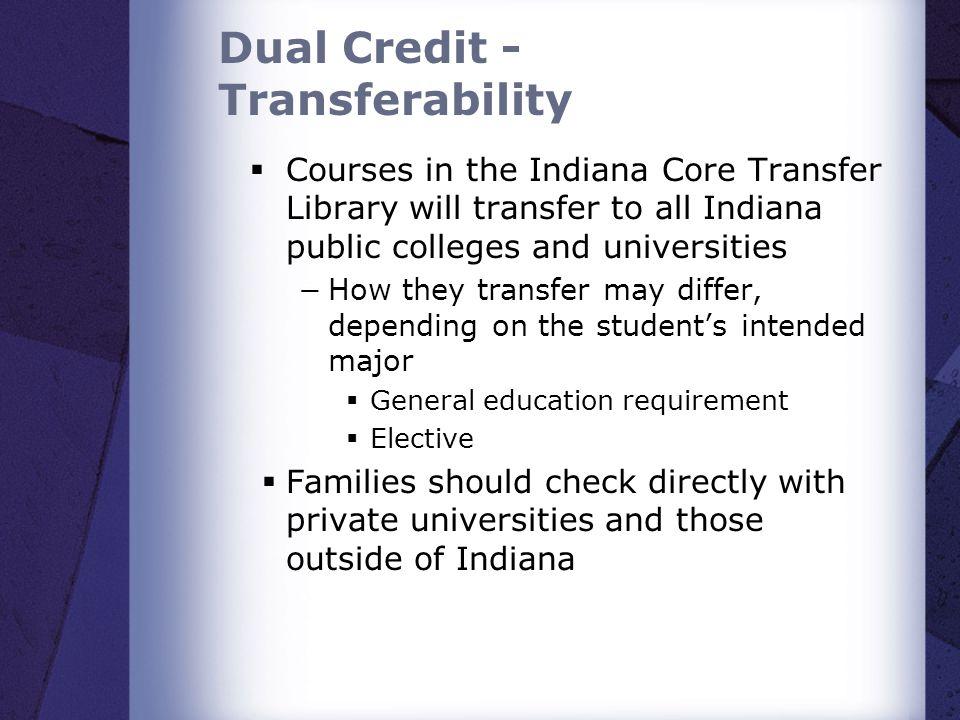 Dual Credit - Transferability