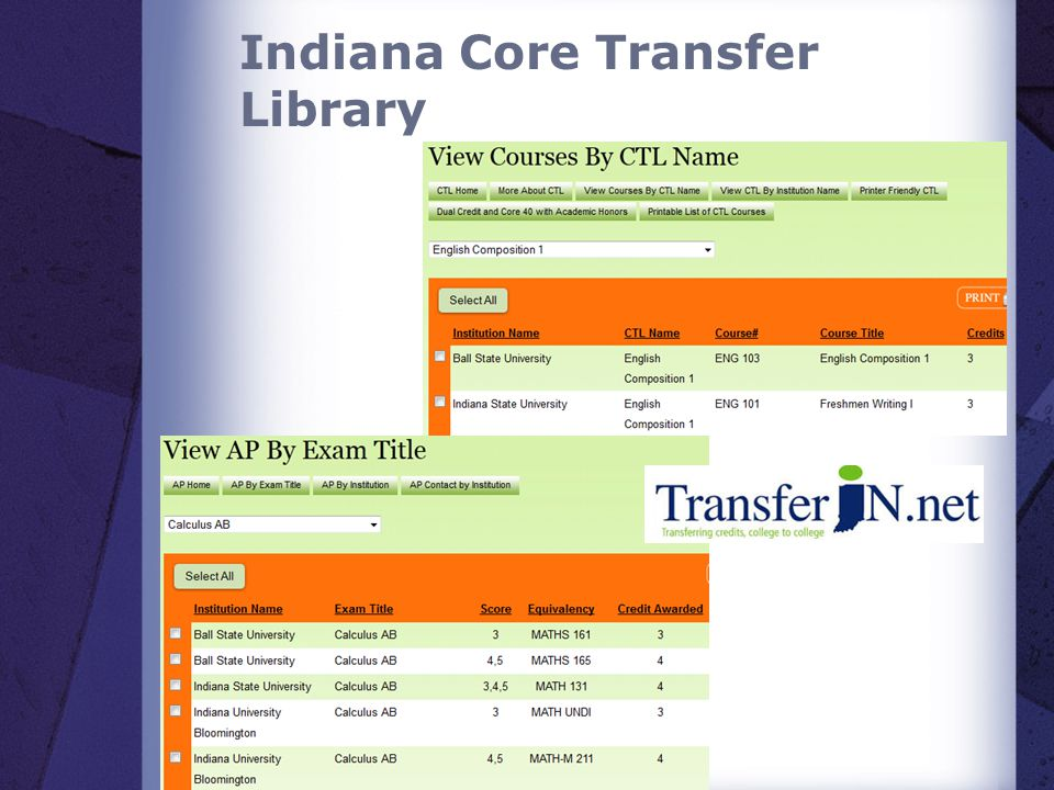 Indiana Core Transfer Library