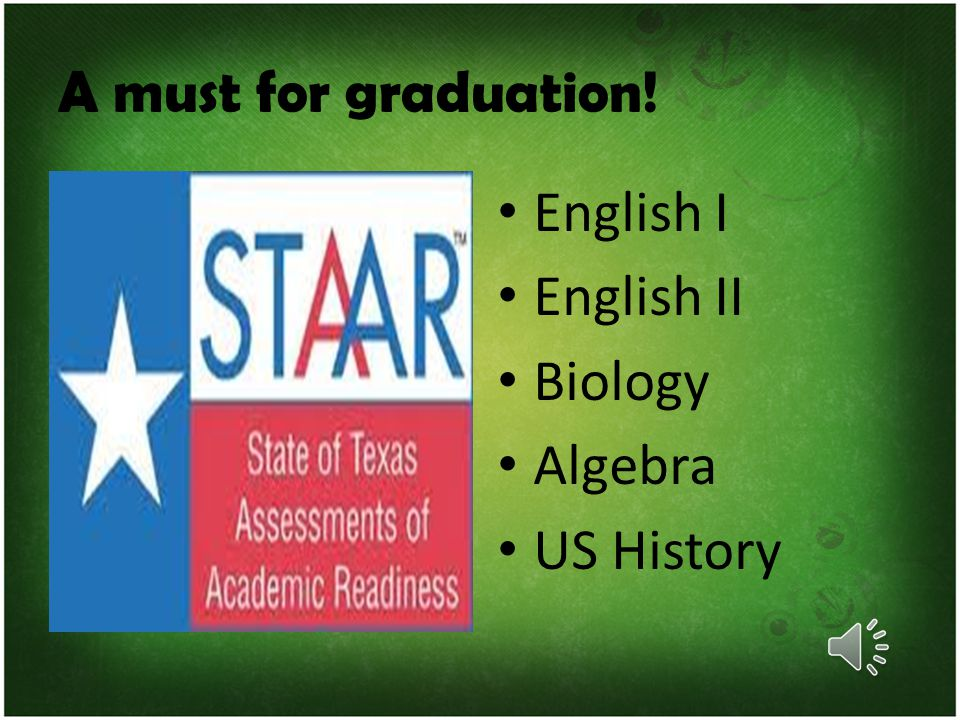 A must for graduation! English I English II Biology Algebra US History