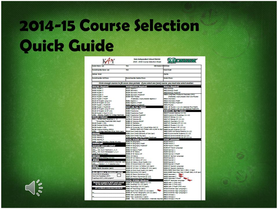 2014-15 Course Selection Quick Guide