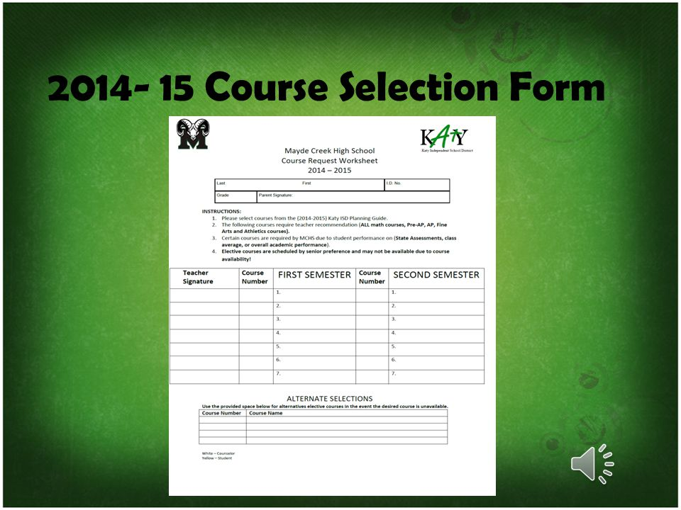 2014- 15 Course Selection Form