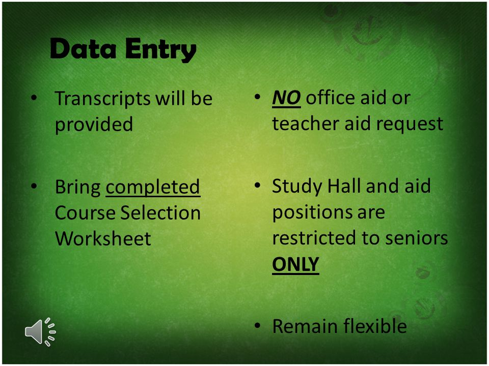 Data Entry Transcripts will be provided