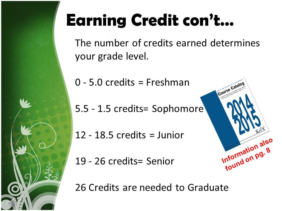 Earning Credit con't…
