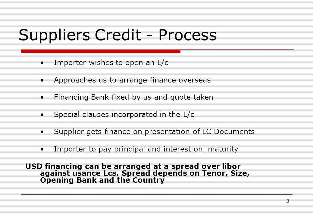 Suppliers Credit - Process