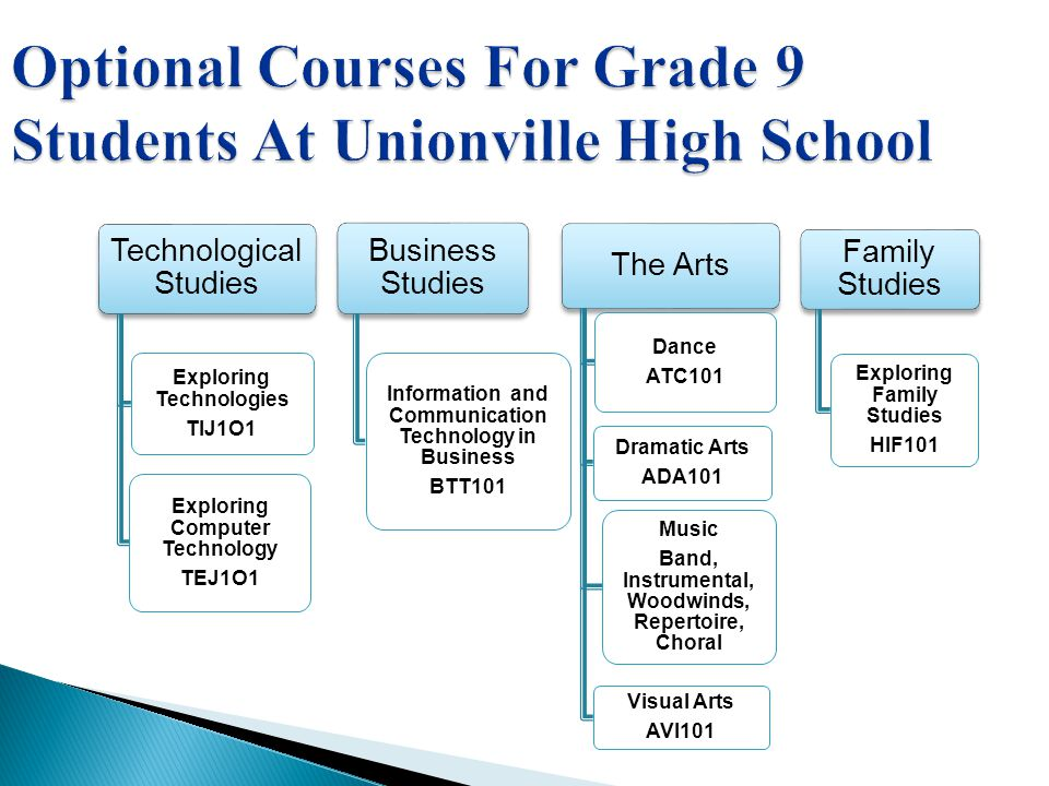 Optional Courses For Grade 9 Students At Unionville High School