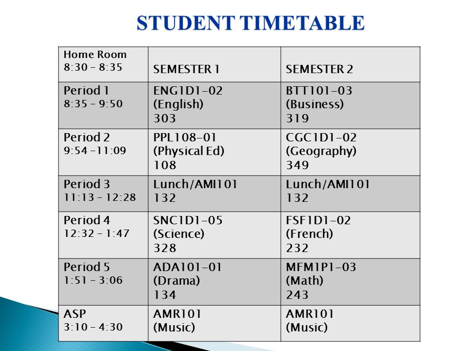 STUDENT TIMETABLE SEMESTER 1 SEMESTER 2 Period 1 ENG1D1-02 (English)