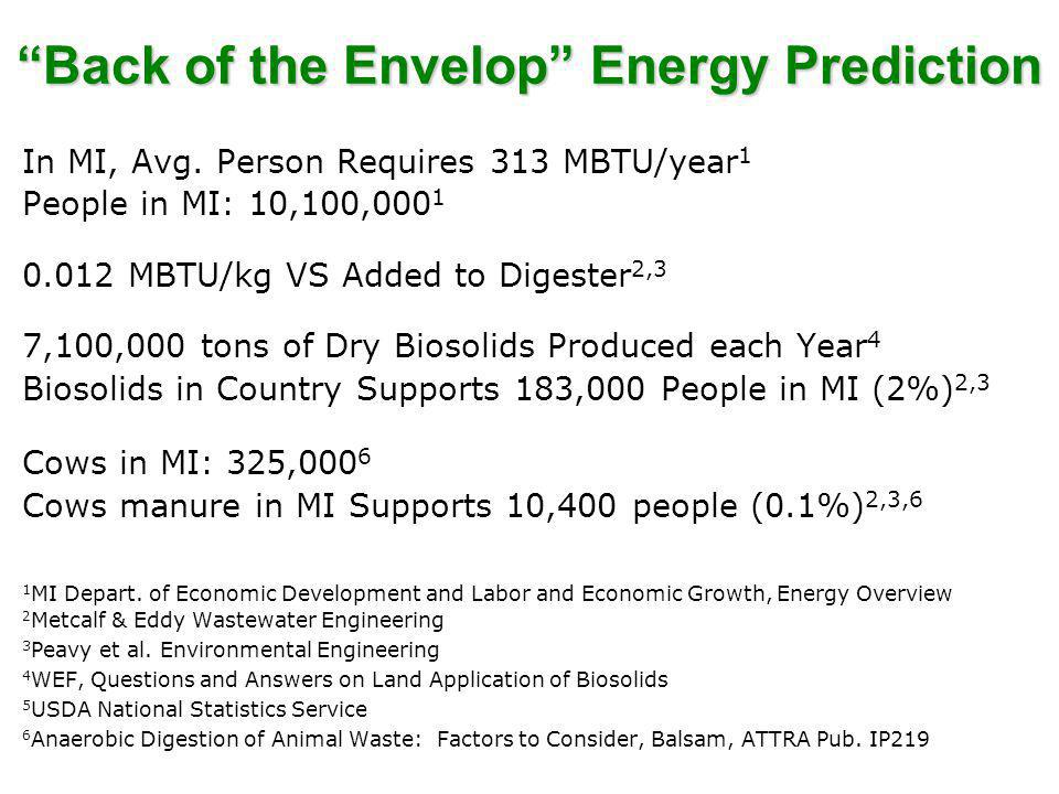Back of the Envelop Energy Prediction