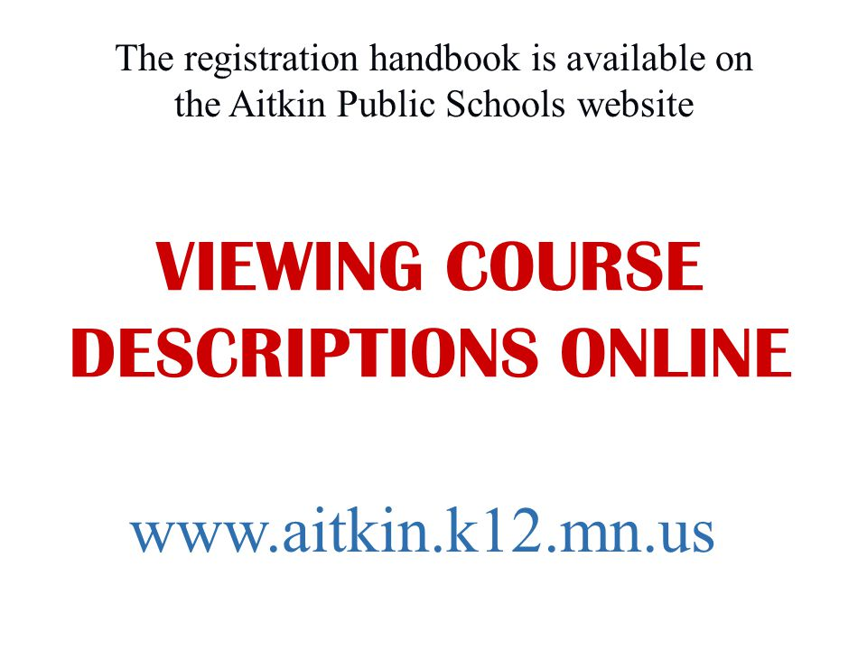 VIEWING COURSE DESCRIPTIONS ONLINE