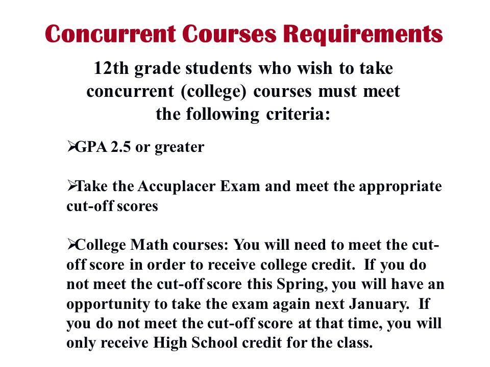 Concurrent Courses Requirements