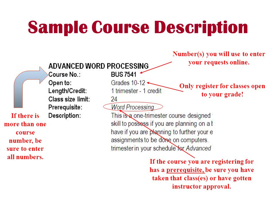 Sample Course Description