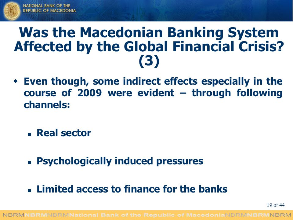 Was the Macedonian Banking System Affected by the Global Financial Crisis (3)