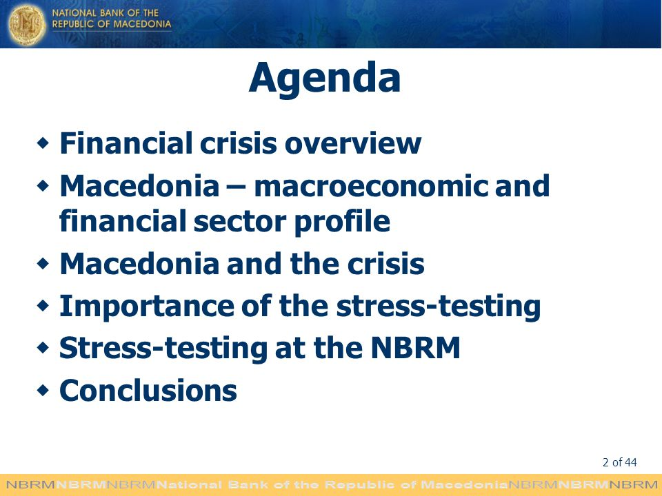 Agenda Financial crisis overview